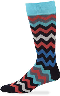 Jared Lang Men's Chevron-Print Cotton-Blend Socks