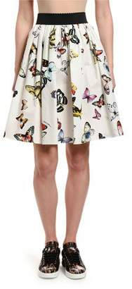 Dolce & Gabbana Butterfly-Print Cotton Poplin Full Skirt