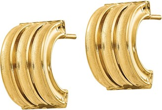 Italian Gold Polished & Brushed Post Earrings 14K