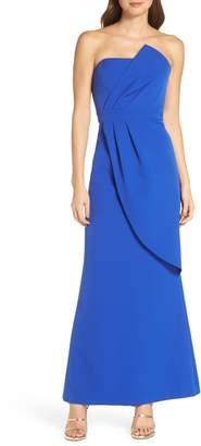 Vince Camuto Strapless Faux Wrap Evening Dress