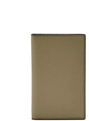 Valextra Bi Fold Leather Cardholder - Mens - Khaki