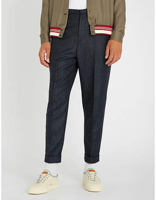 Bally Checked regular-fit tapered wool trousers