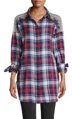 Jak & Rae Sheer-Shoulder Embroidered Plaid Shirt