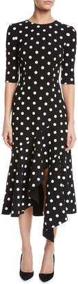 Oscar de la Renta Polka-Dot Drop-Waist Fitted Asymmetric-Hem Midi Dress