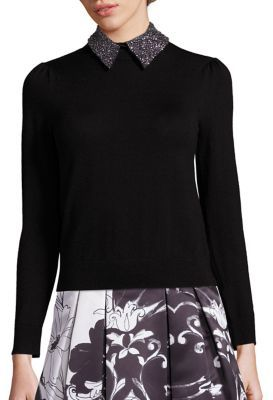 Alice + Olivia Era Embellished Wing Collar Sweater $385 thestylecure.com