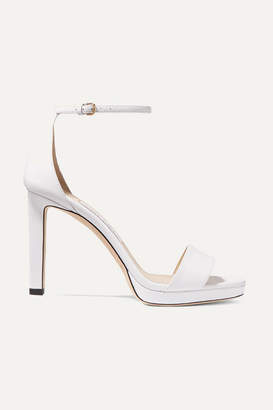 Jimmy Choo Misty 100 Leather Platform Sandals - White