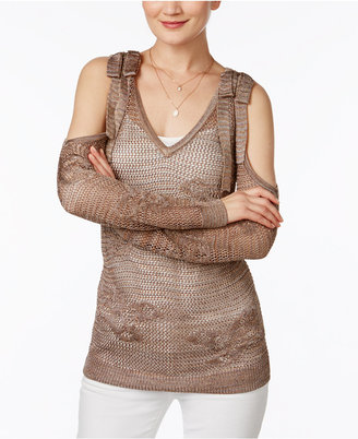 Inc International Concepts Sheer Cold-Shoulder Sweater, Only at Macy's $79.50 thestylecure.com