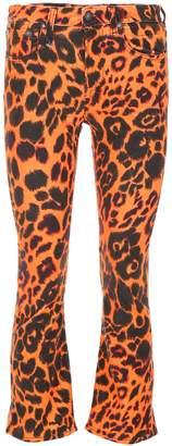 R 13 Leopard Printed Kick Flare Jeans