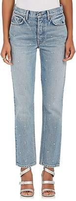 GRLFRND Women's Helena Embellished Straight Crop Jeans