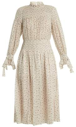 Rebecca Taylor Smocked Star Print Silk And Cotton Blend Dress - Womens - Cream Multi
