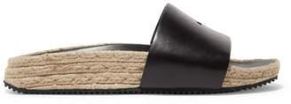 Suki Embellished Leather Espadrille Slides - Black