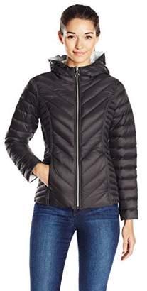 Nautica Women's Reversible Light Down Jacket W/ Hood $109 thestylecure.com