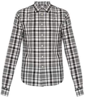 Alexander McQueen Checked Silk Blend Shirt - Mens - Black White