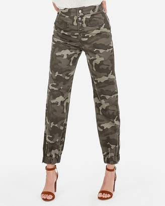 Express Super High Waisted Camo Ankle Utility Jogger Pant