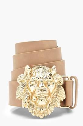 boohoo Lion Head Buckle Belt