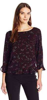 Velvet by Graham & Spencer Women's Printed Challis Soft Ruffle Blouse