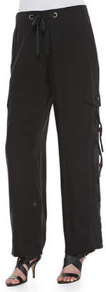 Go Silk Silk Cargo Pants with Grommet Detail