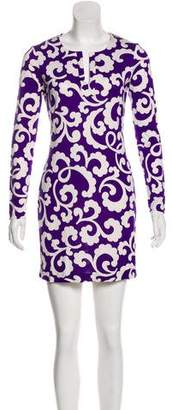 Diane von Furstenberg Printed Long Sleeve Dress