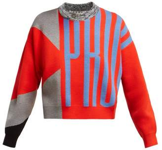 Proenza Schouler pswl Pswl - Cropped Logo Jacquard Sweater - Womens - Red Multi