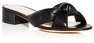 Loeffler Randall Women's Elsie Leather Low Block Heel Slide Sandals