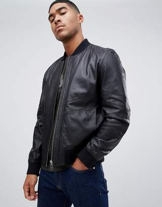HUGO Lachlan leather jacket in black