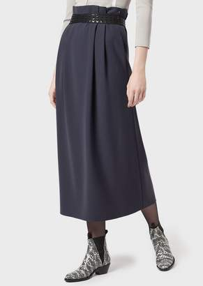 Emporio Armani Long Polyester Skirt With All-Over Logo Belt
