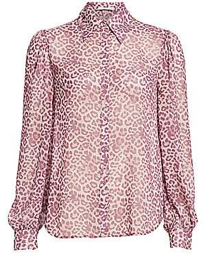 7 For All Mankind Women's Leopard Puff-Sleeve Blouse