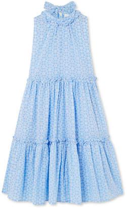 Lisa Marie Fernandez Erica Ruffled Broderie Anglaise Cotton Mini Dress - Light blue