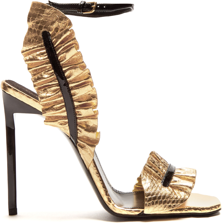 SAINT LAURENT Edie ruffle-trimmed leather sandals