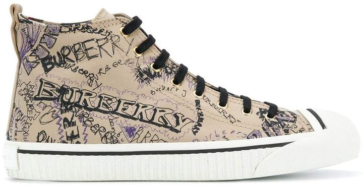 Doodle Print Cotton Gabardine High-top Sneakers - Nude & Neutrals Burberry qHj58lM