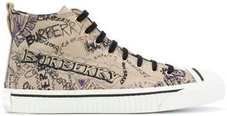 Burberry Doodle Print Cotton Gabardine High-top Sneakers