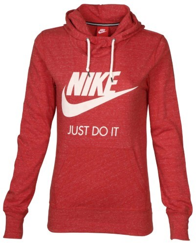 Nike Women's Gym Vintage Casual Pullover Hoodie-Deep Heather Red-XS