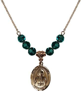 Chanel Bonyak Jewelry Saint Necklace Collection 18-Inch Hamilton Gold Plated Necklace with 6mm Blue December Birth Month Stone Beads and Saint Peter Charm