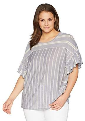 Lucky Brand Women's Size Plus Mix Stripe Ruffle TEE