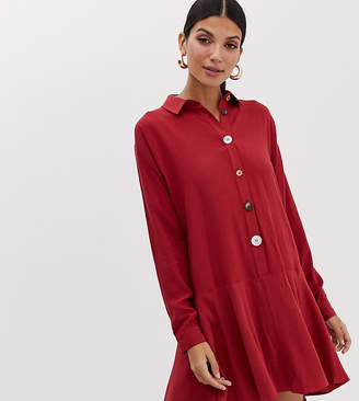Asos Tall DESIGN Tall swing mini shirt dress with contrast buttons