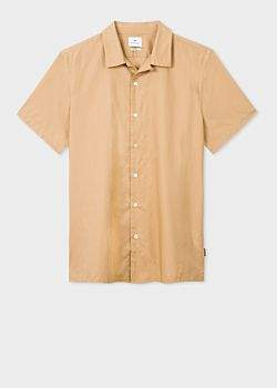 Paul Smith Men's Classic-Fit Camel Short-Sleeve Ripstop Cotton Shirt