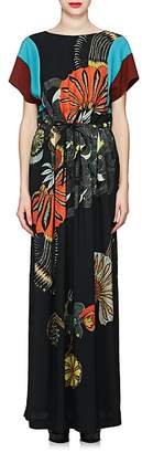 Dries Van Noten Women's Colorblocked & Feather-Print Maxi Dress