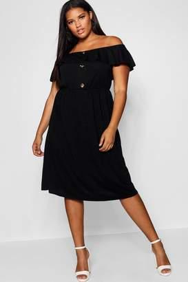 boohoo Plus Crepe Off The Shoulder Midi Dress