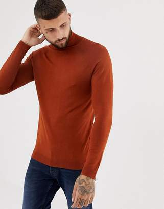 Bershka muscle fit roll neck sweater in brown