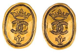 Chanel Etched CC Clip-On Earrings