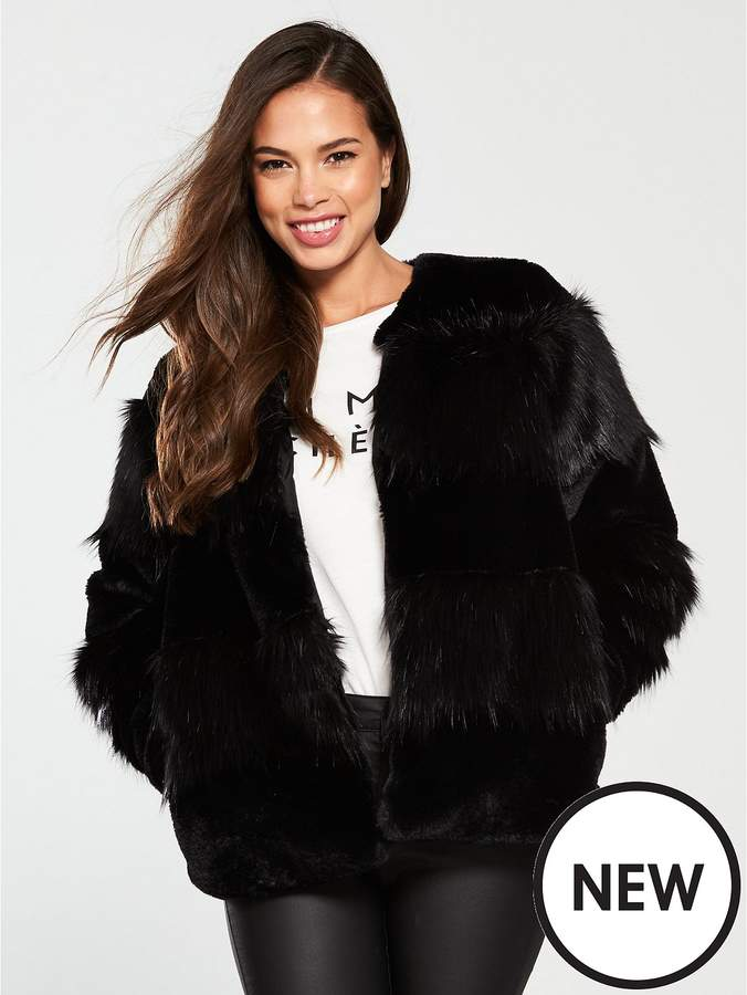 Jazz Short Faux Fur Jacket - Black