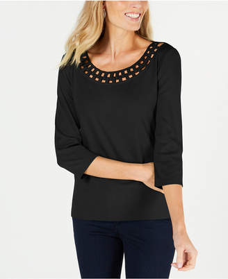 Karen Scott Cotton Link-Collar T-Shirt