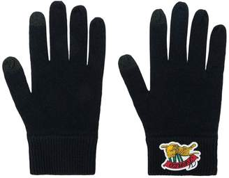 Kenzo logo embroidered gloves