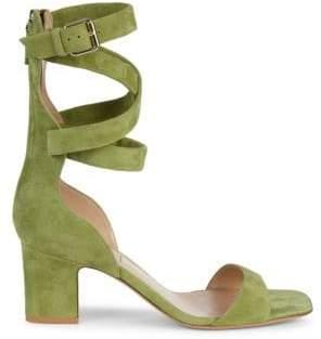 Valentino Crisscross Suede Heeled Sandals