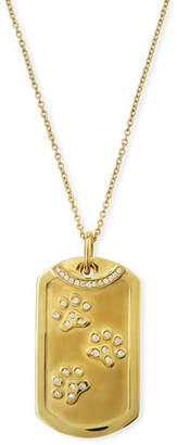 Roberto Coin 18k Gold Diamond Dog Tag Paw Print Necklace