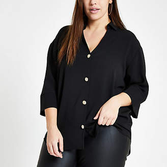 River Island Plus black button front bar back blouse