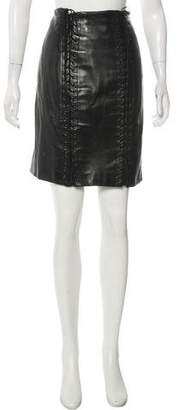 Alaia Lace-Up Leather Skirt