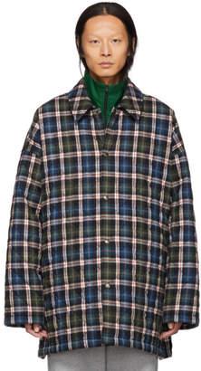 Balenciaga Blue Check Flannel Padded Shirt Coat