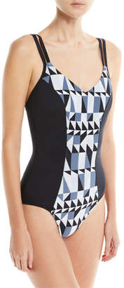 Seafolly Jagged Geo-Print Maillot One-Piece Swimsuit, DD Cup