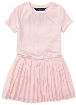 Polo Ralph Lauren Girls' Pleated T-Shirt Dress - Little Kid